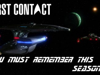 You Must Remember This season 4 title overlaid on an image of the Enterprise-D faces a Klingon ship.